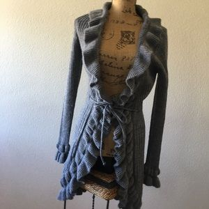 Tag Couture gray wool blend open front cardigan L